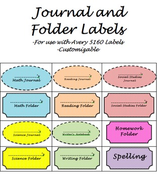 Journal and Folder Sticker Labels - Customizable!