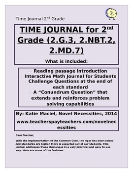 2nd Grade Time Unit Student Interactive Journal