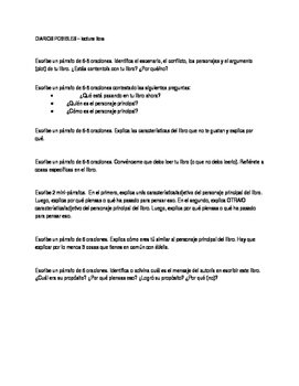 Journal prompts for free reading in Spanish