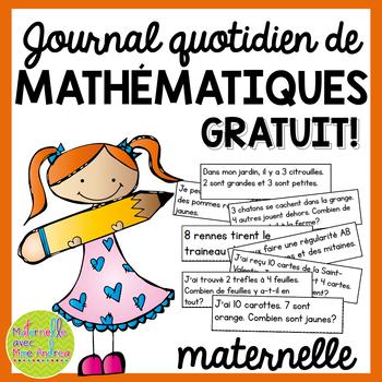 Journal quotidien de maths - (French Math Journal Prompts)