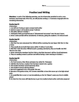 Journalism - Lead Writing Practice