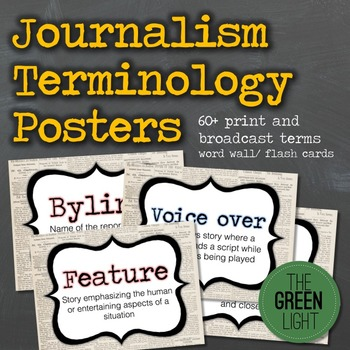 Journalism Posters for Word Wall or Flash Cards: Vocabular
