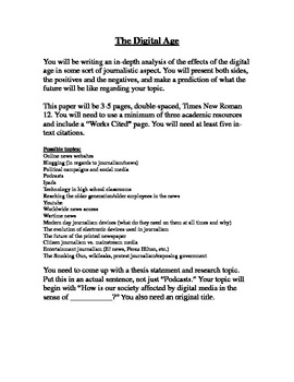 Journalism assignment--The Digital Age