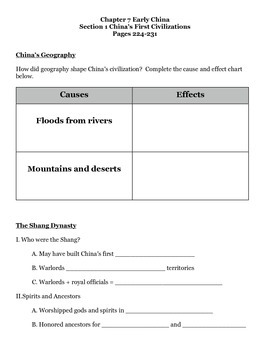 Journey Across Time Chap 7 Section 1 Early China