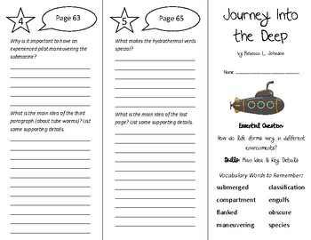 Journey Into the Deep Trifold - Wonders 6th Grade Unit 1 Week 3