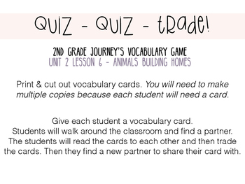 Journey's 2nd Grade Lesson 6 - Vocabulary- Quiz, Quiz, Trade