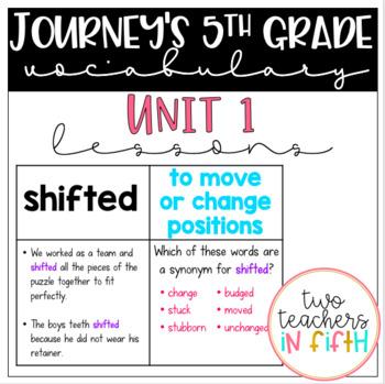Journey's 5th Grade Vocabulary Lessons: Unit 1