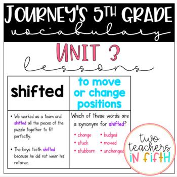 Journey's 5th grade Vocabulary Lessons: Unit 3