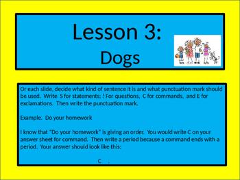 "Journey's Grade 2, Lesson 3 ""Dogs"" Types of sentences Grammar ppt"