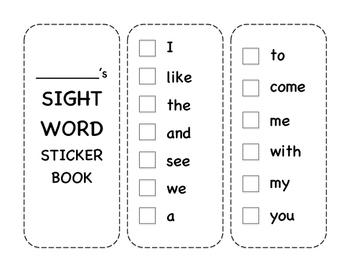 Journey's Kindergarten Sight Word Sticker Book