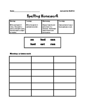 Journey's Spelling Homework Unit 2