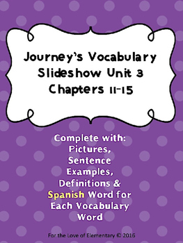 Journey's Vocabulary Grade 3 Chapters 11-15