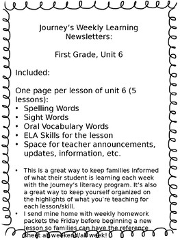 Journey's Weekly Learning Send Home Newsletters - Unit 6,