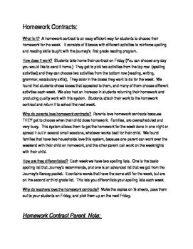 Journey's frist grade reading homework contracts Unit 2