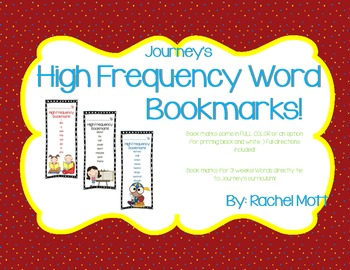 Journey's 1st Grade High Frequency Word Bookmarks!