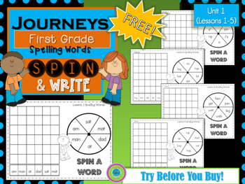 Journeys 1st Grade Spin A Word- Unit 1 FREE!