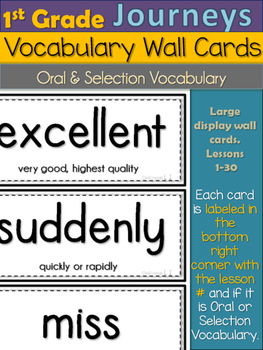 Journeys 1st Grade Vocabulary Wall Cards- Large- Oral & Se