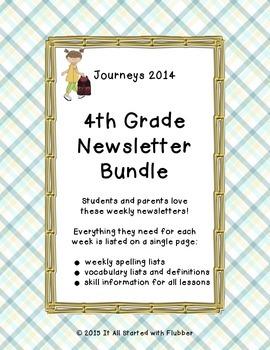 Journeys 2014 Fourth Grade, Weekly Newsletters BUNDLE