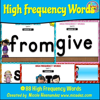Kindergarten High Frequency Words Posters with Cute Kids