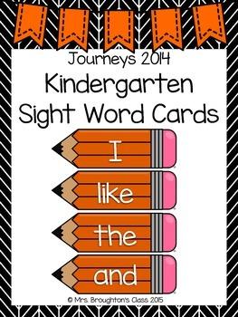 Journeys 2014 Kindergarten Sight Word Cards- Orange