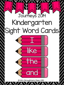 Journeys 2014 Kindergarten Sight Word Cards- Pink