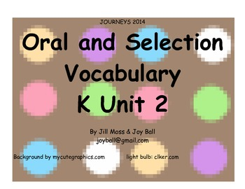 Journeys 2014 Oral and Selection Vocabulary Kindergarten Unit 2