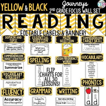 Journeys 2nd Grade Focus Wall Set {Yellow, Black, White} {