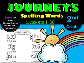 Journeys 2nd Grade Rainbow Write ~ Spelling Words ~ All 30