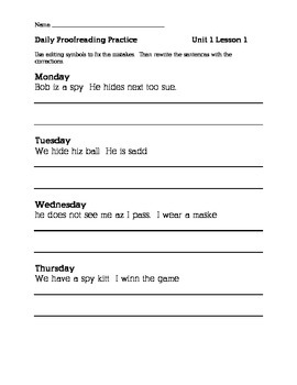 Journeys 2nd Grade Unit 1 Daily Proofreading Practice