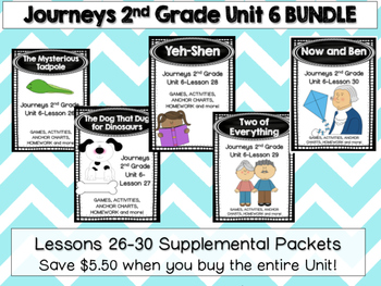 Journeys 2nd Grade Unit 6 Lesson 26-30 BUNDLE