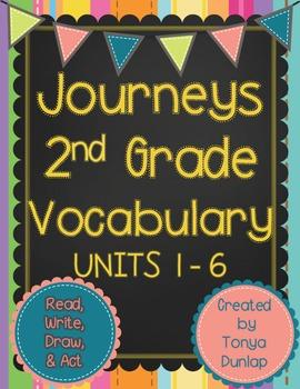 Journeys 2nd Grade Vocabulary Units 1-6 Bundle, Read, Write, Draw