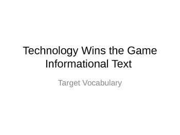 Journeys 3rd Grade Lesson 11 Technology Wins the Game Voca