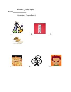Journeys 3rd Grade Lesson 15 Ramona Quimby Age 8 Vocabular
