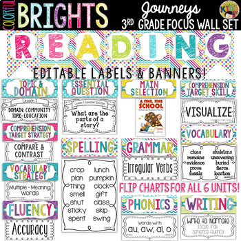 Journeys 3rd Grade Reading Focus Wall Set {Colorful Brights}