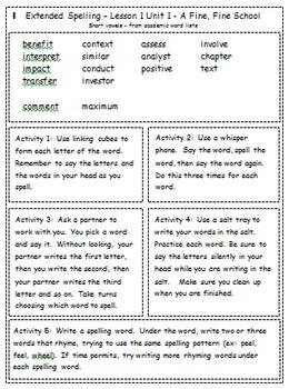 Journeys 3rd Grade Spelling Activities