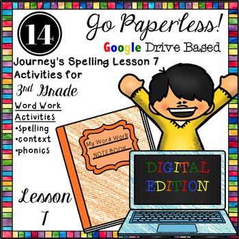 Journeys 3rd Grade Spelling Word Work Activities LESSON 7