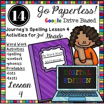 Journeys 3rd Grade Spelling Word Work Activities Unit 4