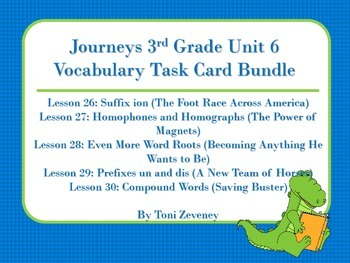 Journeys 3rd Grade Unit 6 Vocabulary Task card Bundle