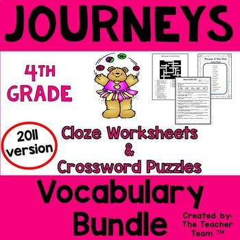 Journeys 4th Grade Cloze Worksheets-Crossword Puzzles Bund