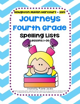 Journeys 4th Grade - Spelling Lists