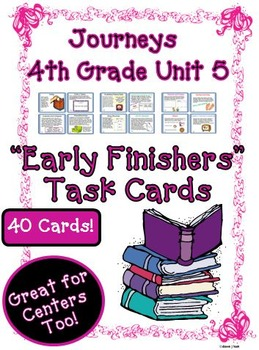 Journeys 4th Grade Unit 5 Early Finishers Task Cards 2011
