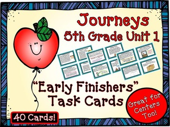 Journeys 5th Grade Unit 1 Early Finishers Task Cards 2011