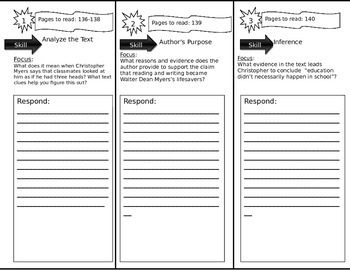 Journeys 6th Grade Common Core~ The Myers Family Trifold C