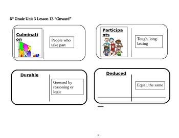 "Journeys 6th Grade Reading Series Vocabulary Dominoes ""Onward"""