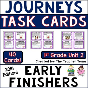 Journeys 1st Grade Unit 2 Early Finishers Task Cards