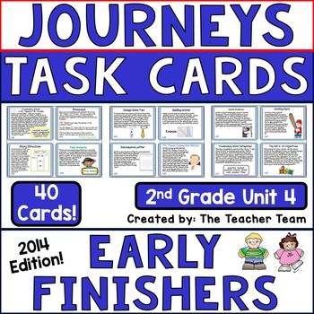 Journeys 2nd Grade Unit 4 Early Finishers Task Cards 2014