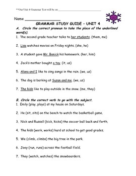 Journey's Aligned Unit 4 Grammar Study Guide