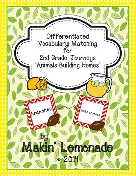 """Journeys: """"Animals Building Homes"""" Differentiated Vocabula"""