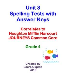 Journeys CC Unit 3 Spelling Tests BUNDLE Grade 4