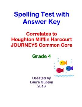 Journeys CC Unit 4 Lesson 18 Spelling Test Grade 4